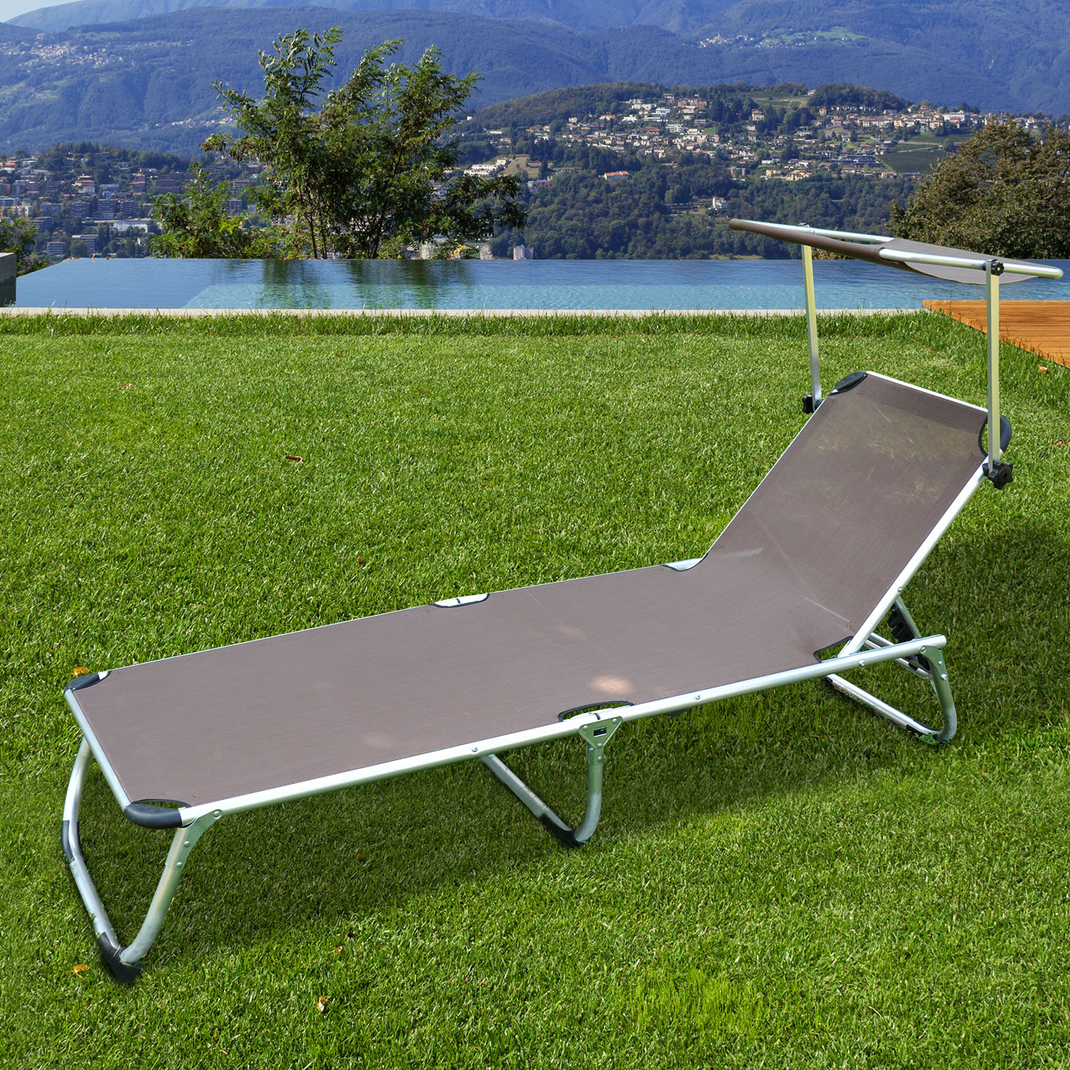 chaise longue transat bain de soleil pliant avec ombrelle aluminium chocolat 39 ebay. Black Bedroom Furniture Sets. Home Design Ideas