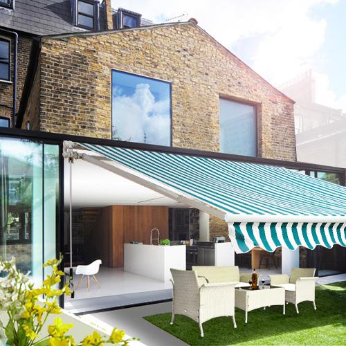 Store banne manuel jardin terrasse auvent rétractable vert et blanc ...