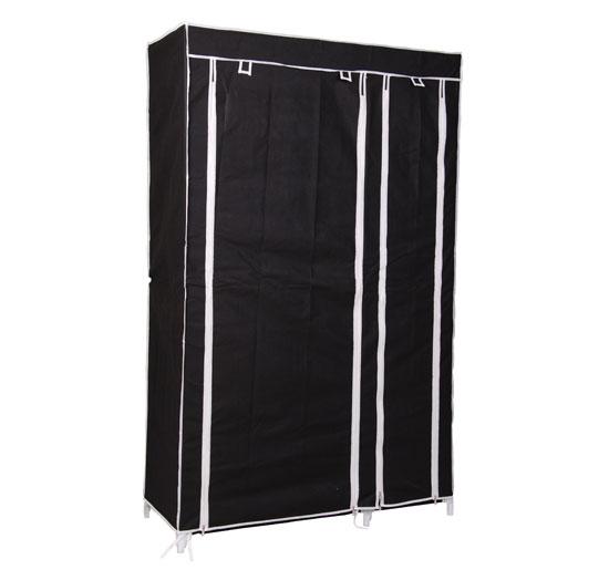 armoire en tissu penderie meuble de rangement multifonction 110x45x175cm noir 65 ebay. Black Bedroom Furniture Sets. Home Design Ideas