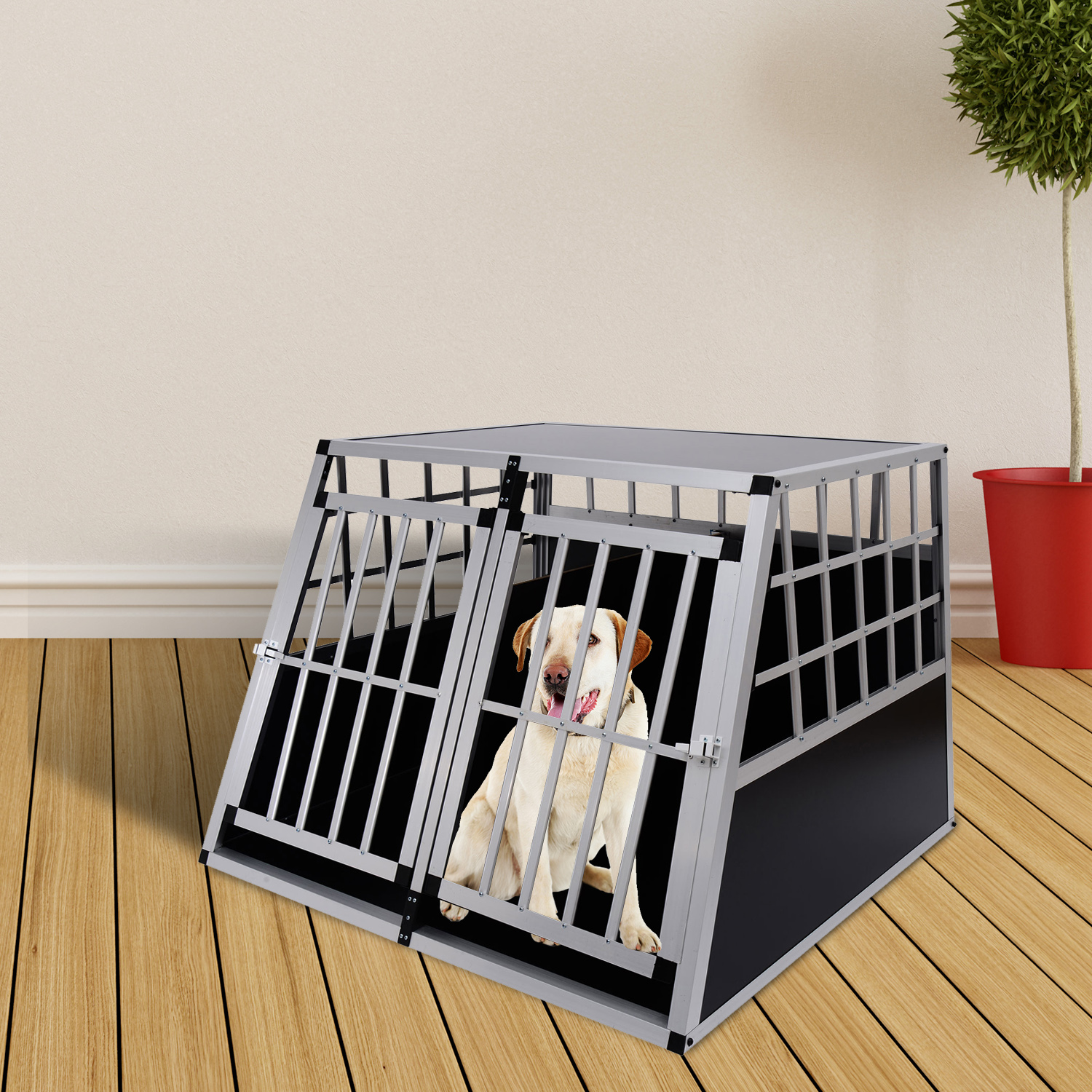 cage de transport pour chien en aluminium xxl noir. Black Bedroom Furniture Sets. Home Design Ideas